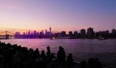 One World Trade Center towers over the Manhattan Bridge.