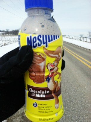 About 11 miles into today's long run, I stopped at a convenience store for a water and a chocolate milk. You can see it gets a little foamy when you carry it for 3 miles.
