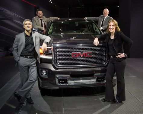 The GMC Design team, from left: Michael Stapleton, Rob Cameron, Matt Noone and Helen Emsley.  (Photo by Jeff Sauger for GMC) © General Motors.