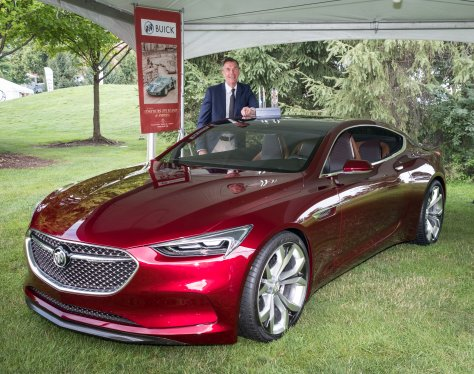General Motors Vice President Global Design Michael Simcoe accepts two 2016 North American Concept Vehicle Awards for the Buick Avista concept Sunday, July 31, 2016 at the Concours d'Elegance of America in Plymouth, Michigan. The IMAC awards are for the 2016 Most Significant Concept Vehicle of the Year and for the 2016 Concept Car of the Year. (Photo by Steve Fecht for Buick) © General Motors.