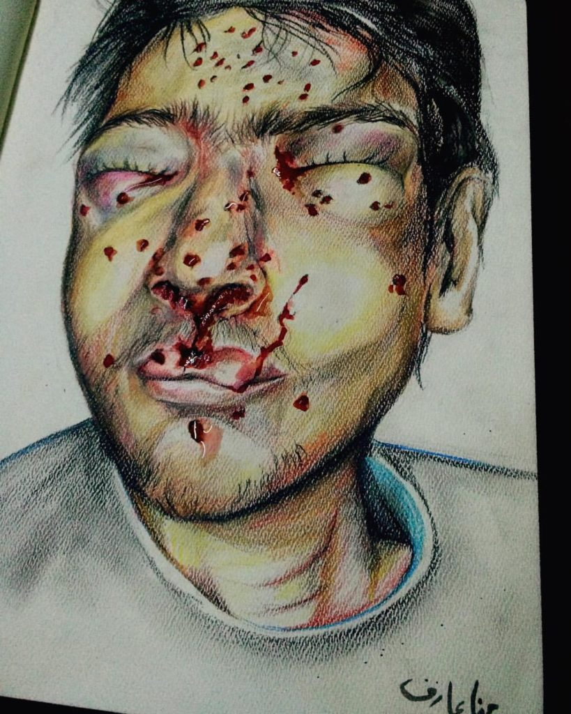 Painting of wounded boy with closed eyes