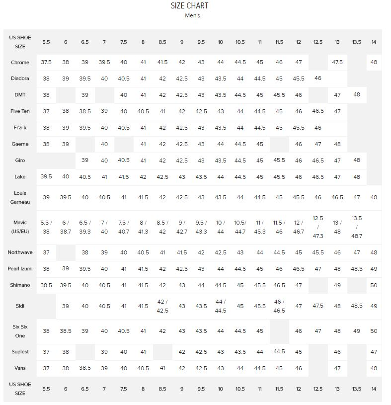 Cc mens shoe size vs brand chart in the know cycling