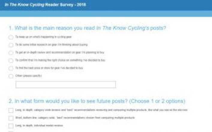 In The Know Cycling Reader Survey - 2018