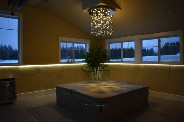 Residential Hot Tub   Chandelier and LED Ribbon