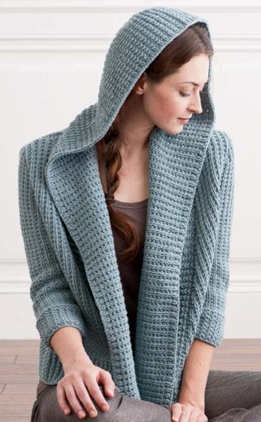 cec56e84557ac Knitting pattern for Osprey Hooded Cardigan and more hoodie knitting  patterns