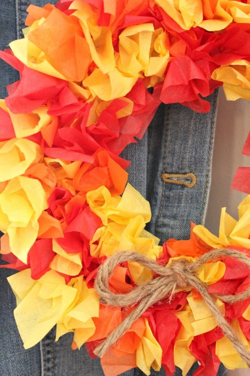 Fall home decor DIY wreath made from recycled trash
