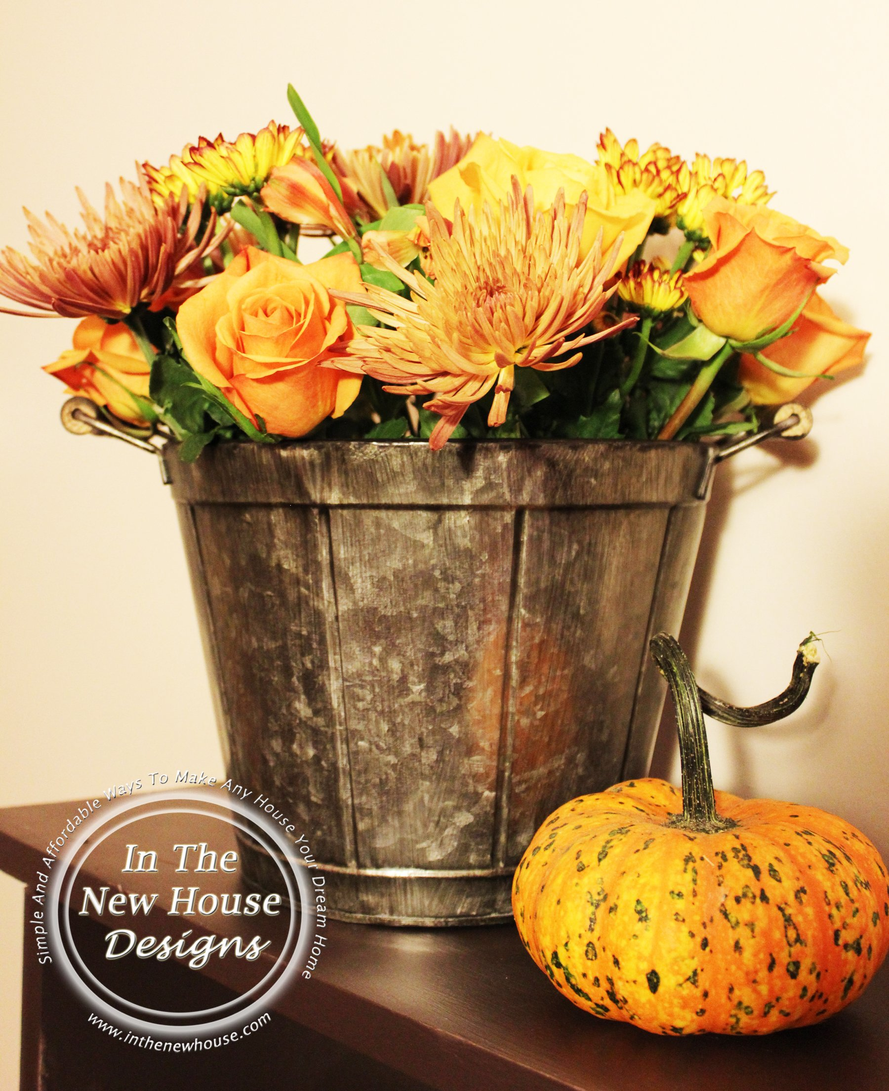how to arrange flowers in a metal bucket in the new house designs