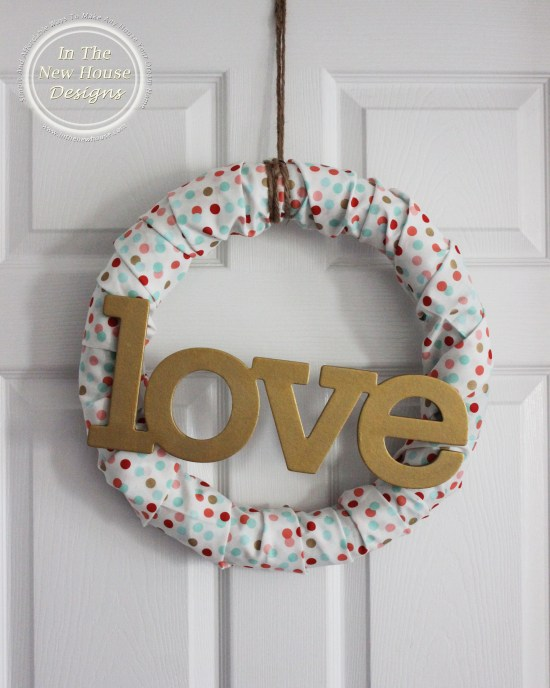 Valentine's Day Fabric Covered Foam Wreath