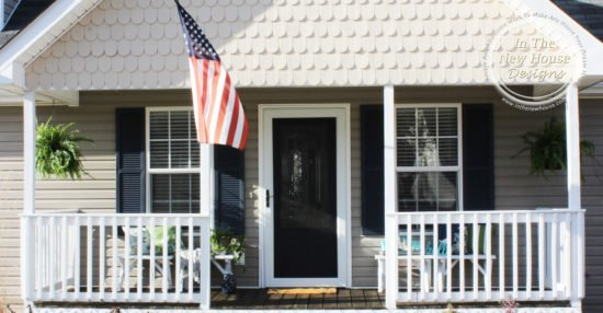 Cottage front porch with gray, white, and navy