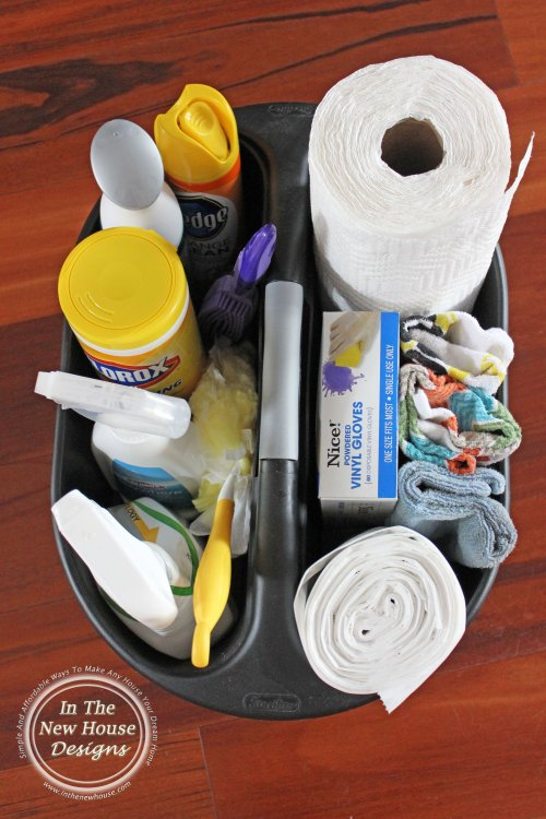 Perfectly stocked cleaning caddy