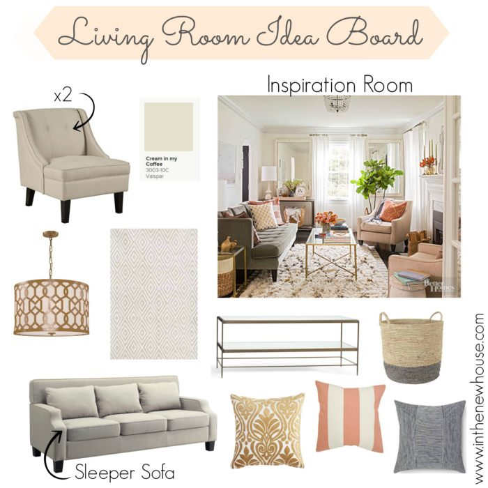 Living Room Idea Board with Neutrals
