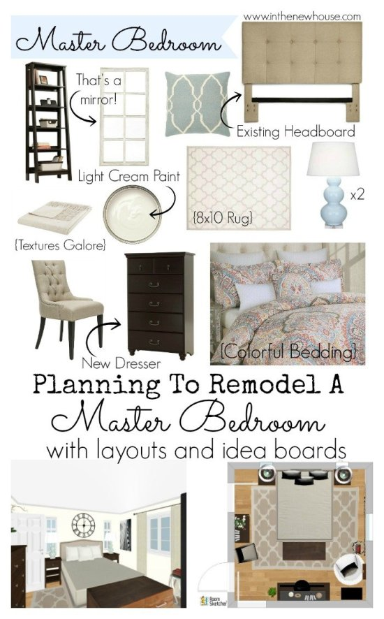 Planning my budget-friendly bedroom remodel by creating an idea board and layouts to scale