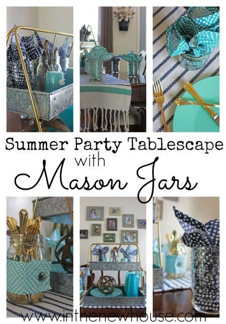 Summer Party Tablescape using shades of blue with gold and mason jars