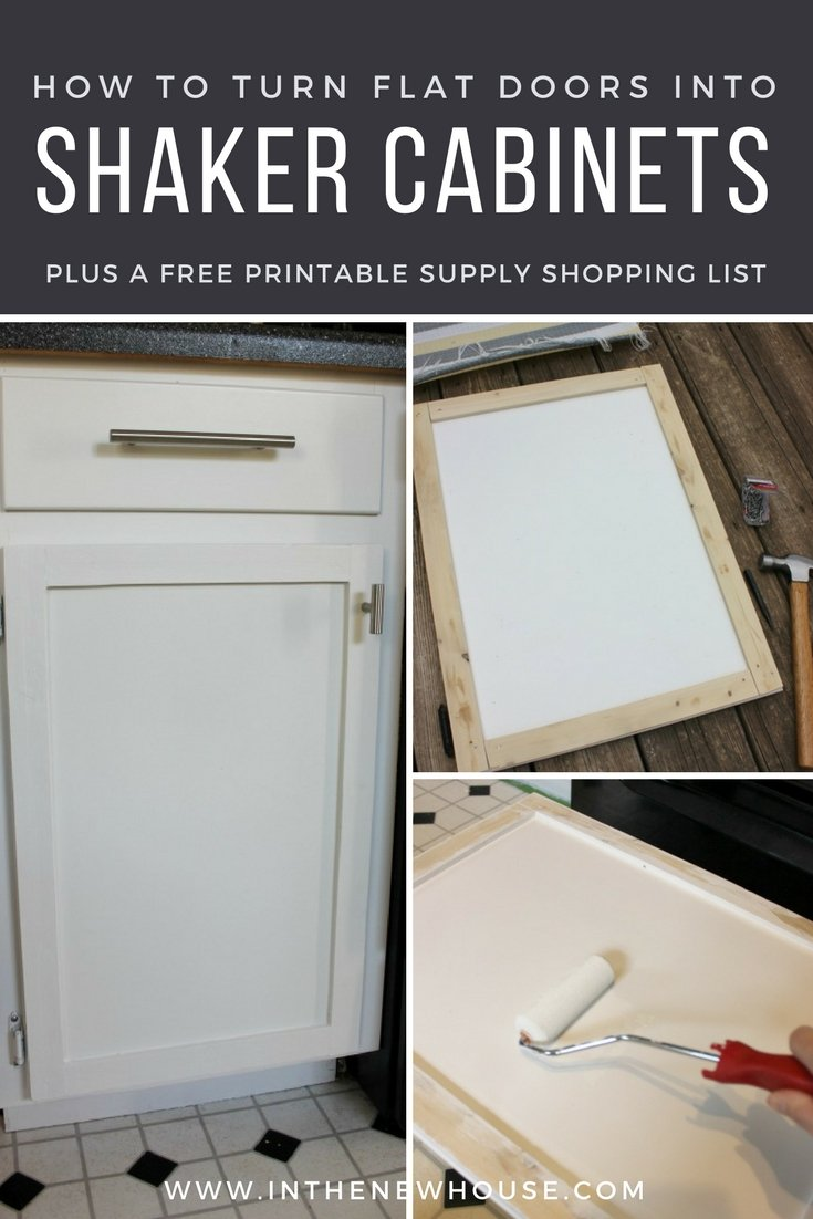turn your flat kitchen cabinet doors into shaker style cabinets on a ...