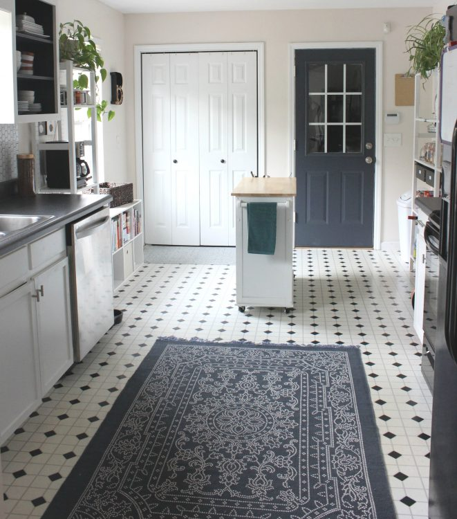white and navy blue small galley kitchen