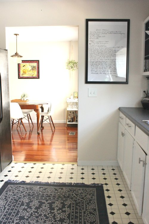 add a large rug for a big impact in a small kitchen