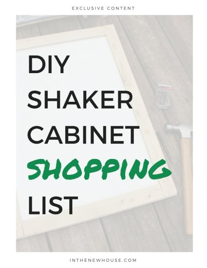 shaker cabinet shopping list