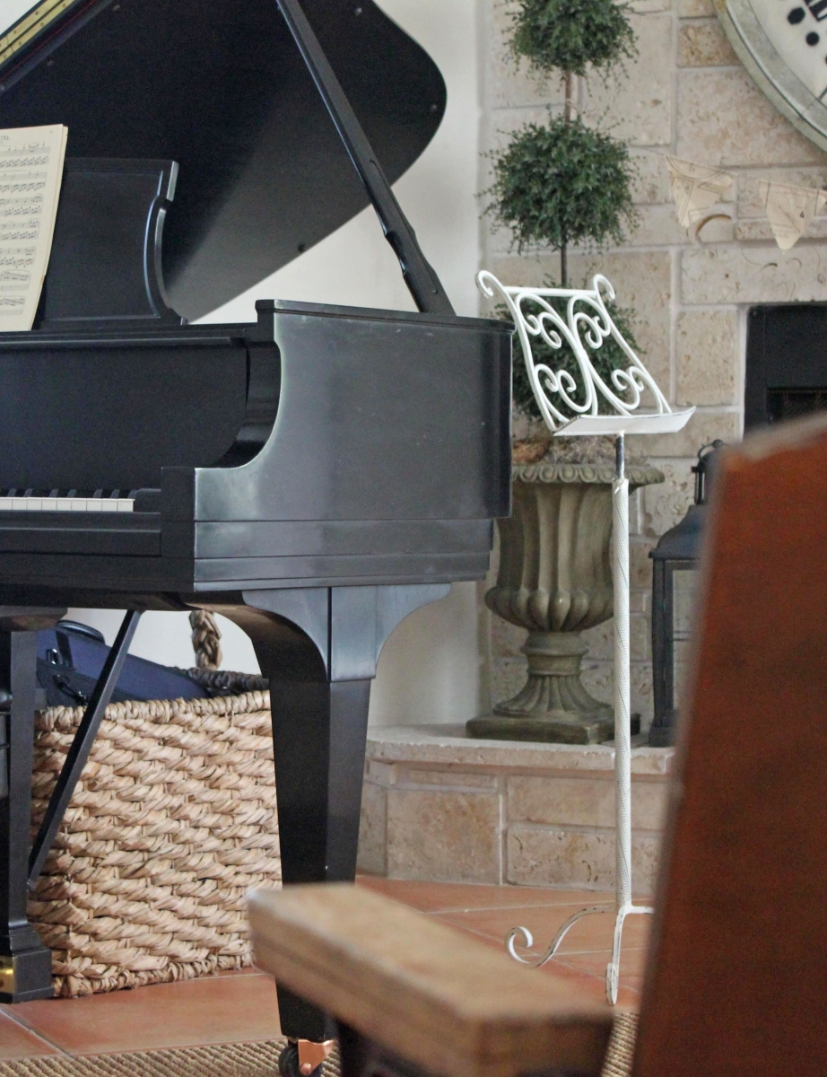 Baby Grand Piano with Audience Seating in Living Room