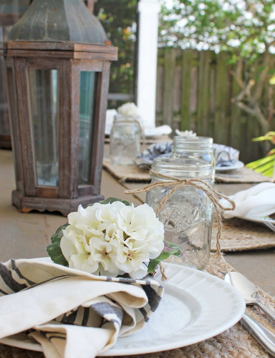Outdoor French Country Patio Tablescape With Mason Jars