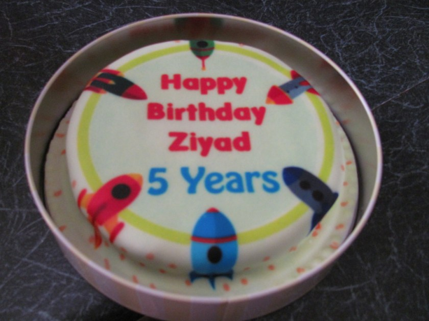 personalised rocket birthday cake 5 years old