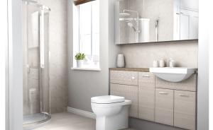 cream and stone bathroom design