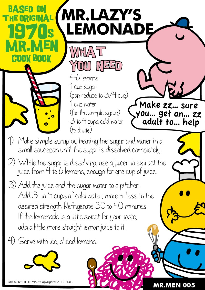 Mr Lazy's Lemonade. Easy traditional recipe to make with kids. Mr Men themed