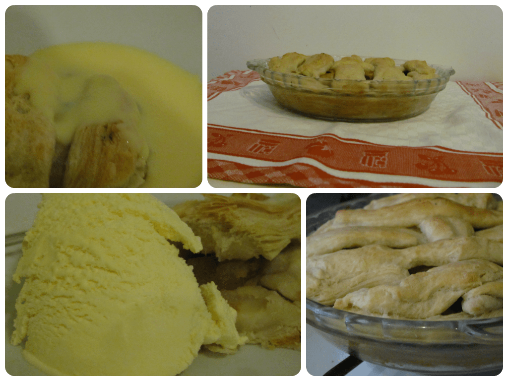 cooked apple pie served with ice cream or custard