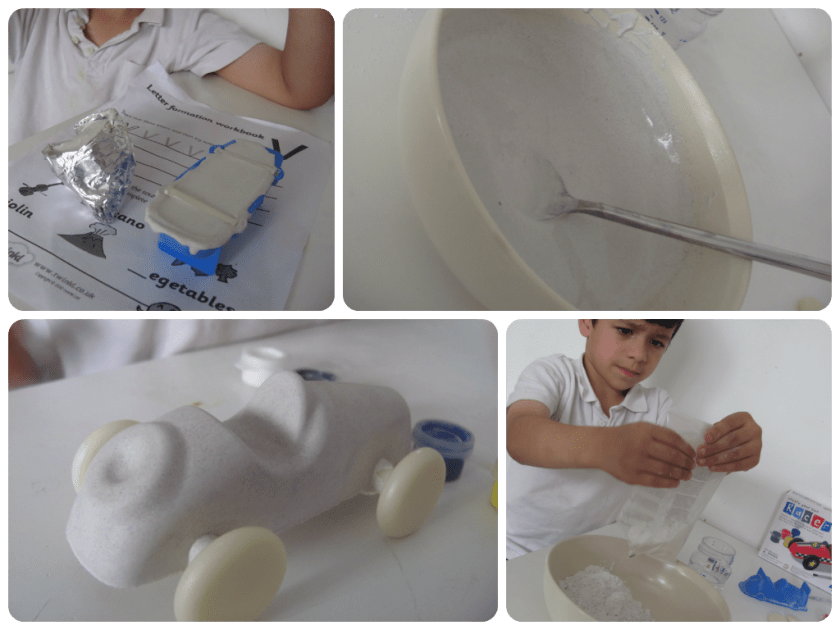 create your own racer - plaster of paris