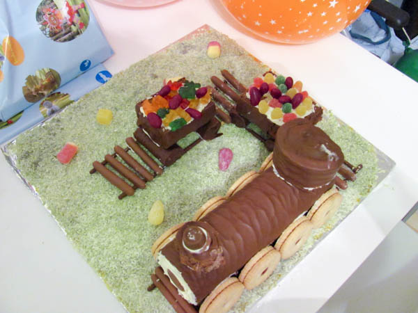 Chocolate Swiss Roll Train Cake