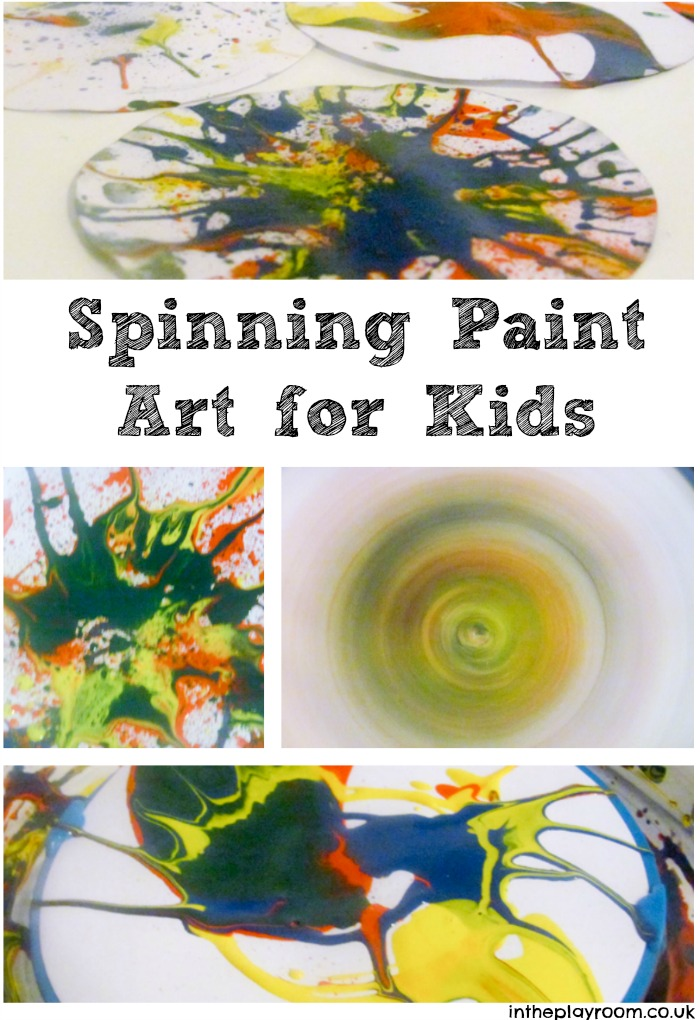 Spinning paint pictures. Fun art idea for kids