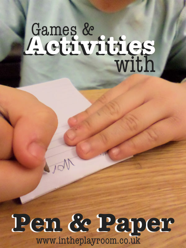 activities and game with a pen and paper