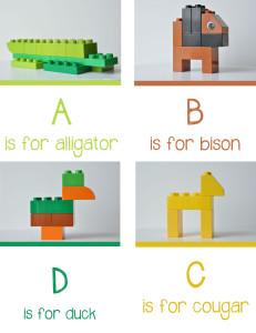 lego animal alphabet A-D fun literacy activities