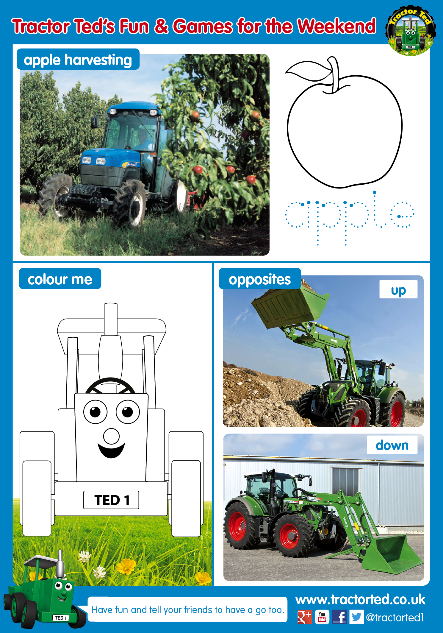 Free Spring Printable Activity Sheet Tractor Ted