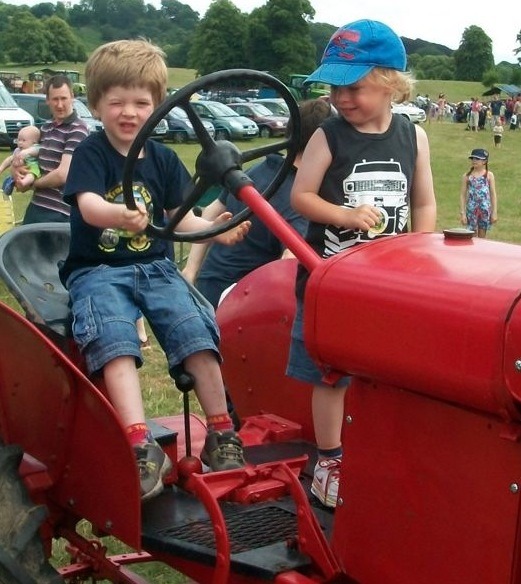 Boys on vintage tractor - Tractor Ted Farm Show