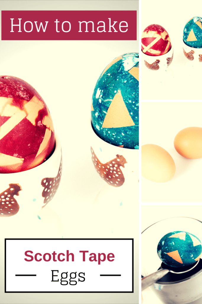 How to decorate eggs for Easter using scotch tape and food colouring