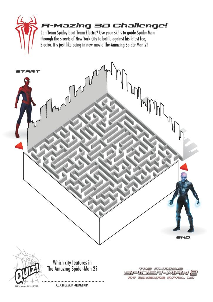 Spider-man maze activity sheet printable