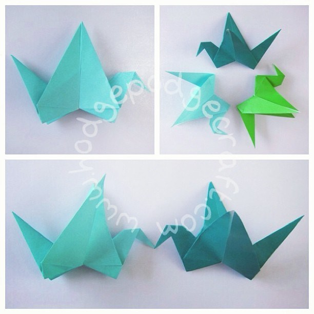 Origami birds paper craft from Hodge podge Craft