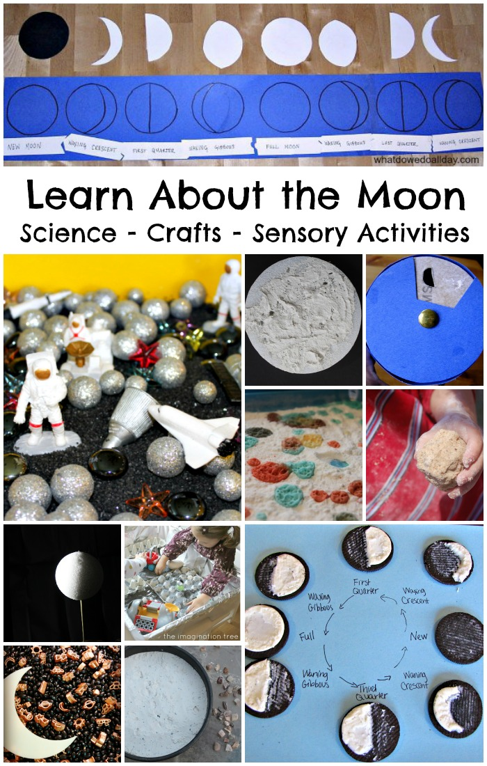 Fun activities to learn about the moon. Moon Science, moon crafts and moon themed sensory activities