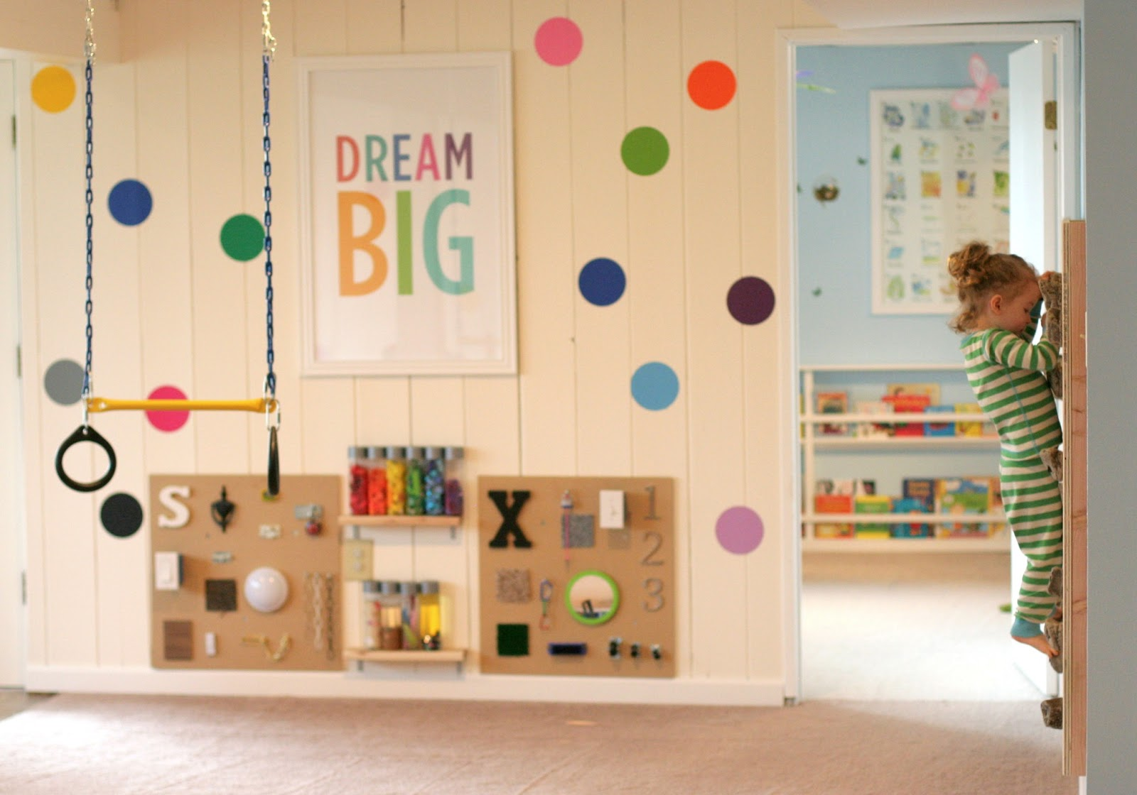 fun at home with kids playroom with diy rock climbing wall