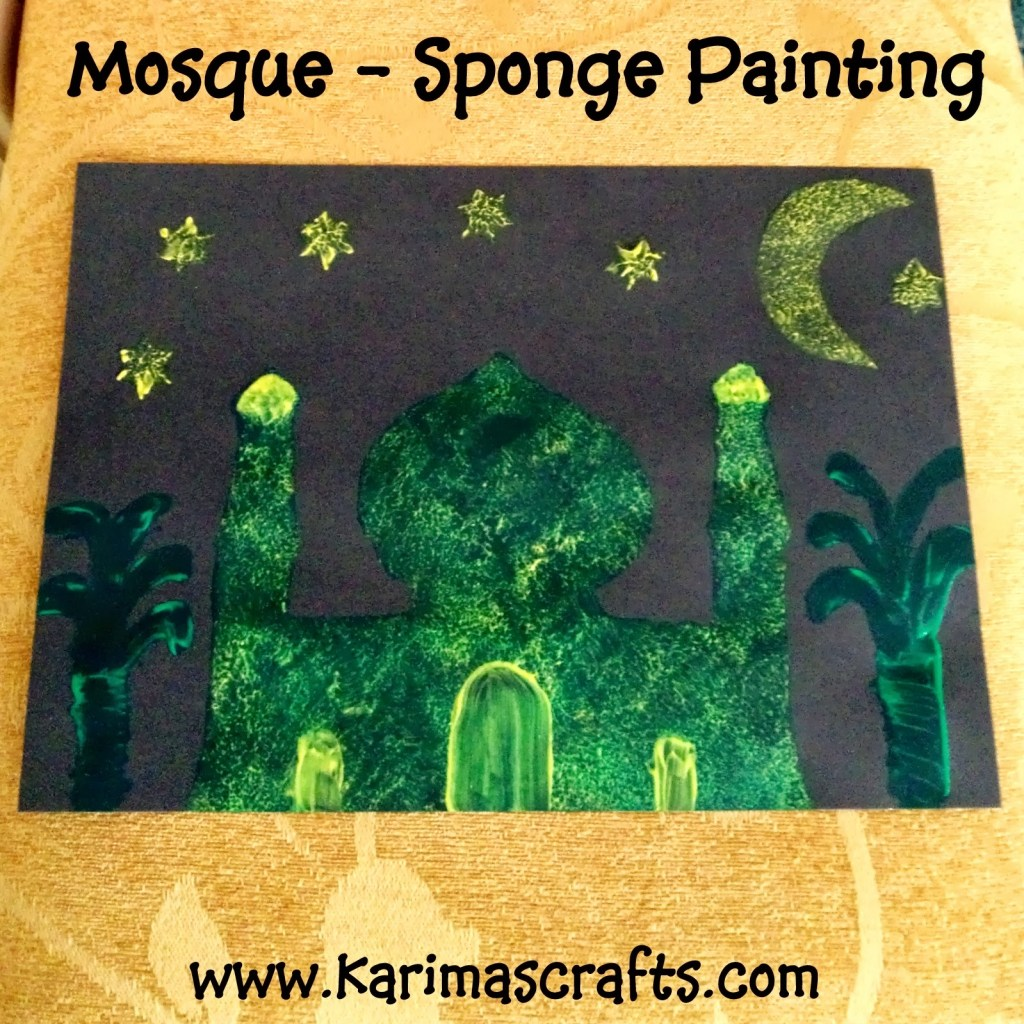 mosque crafts sponge painting kids craft