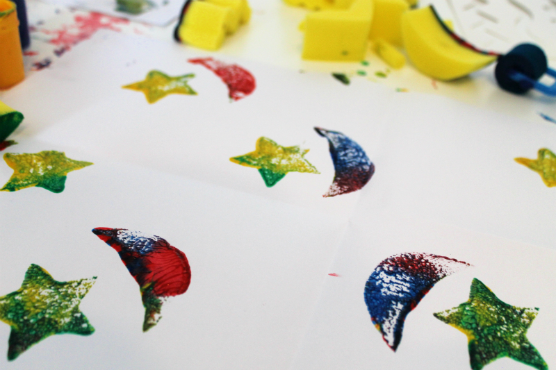 star and crescent printing / sponge painting to create home made gift wrap