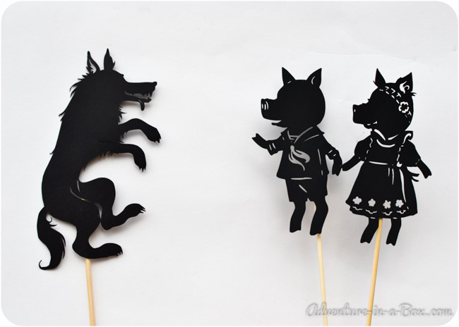 Three little pigs shadow puppetry with printables in for The three little pigs puppet templates