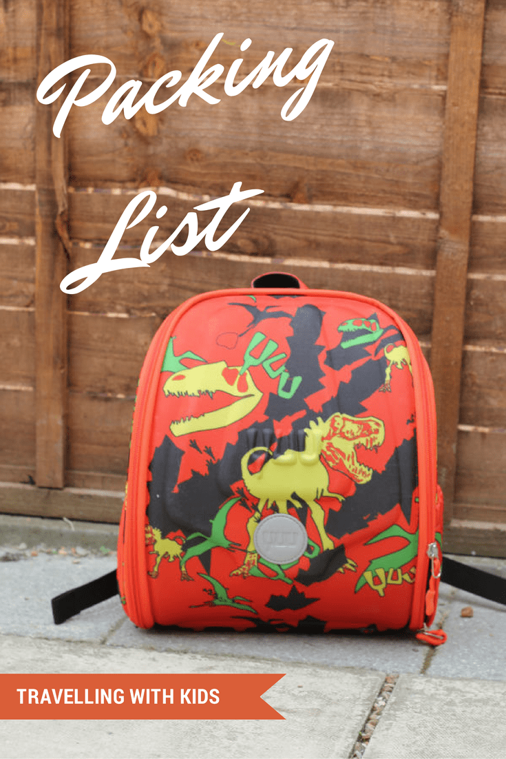 Packing list for travelling with kids