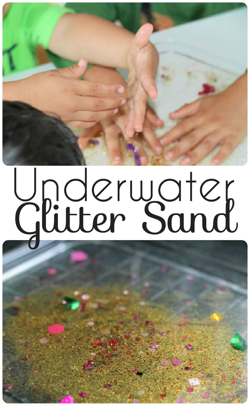Underwater glitter sand sensory tray - calming and relaxing and can be used for fine motor activities and mark making too. Found on http://intheplayroom.co.uk