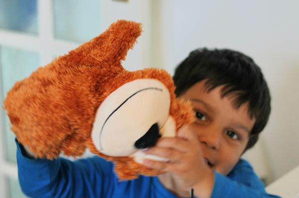 monkey puppet to help children in hospital
