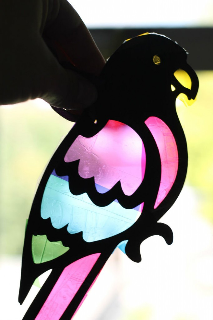 stained glass parrot craft