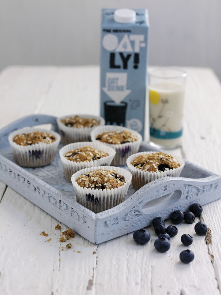 Oatly Banana and Blueberry Muffins - Vegetarian and vegan recipe
