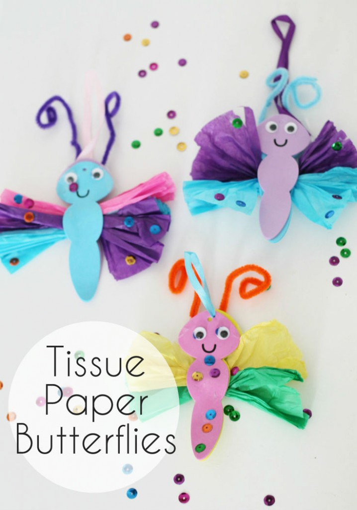 Colourful tissue paper butterfly craft from intheplayroom.co.uk