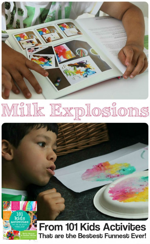 Colourful milk explosions experiment from the book 101 Kids Activities