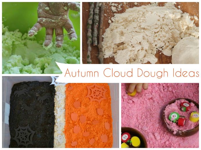 simple playdough ideas - moondough and cloud dough recipes for autumn